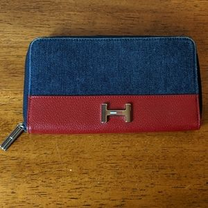 Tommy Hilfiger wallet dark wash denim and leather